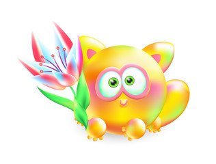 Vector 3d illustration little kitten. Realistic multi-colored cheerful cat with beautiful flower on a white background.