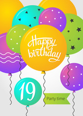 Happy Birthday card template with balloons. 19 years. Vector illustration