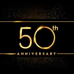 Celebrating of 50 years anniversary, logotype golden colored isolated on black background and confetti, vector design for greeting card and invitation card