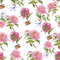 watercolor peonies and butterflies seamless pattern
