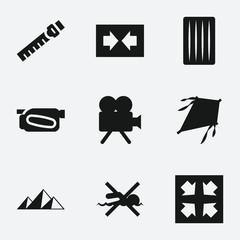 Set of 9 simple filled icons