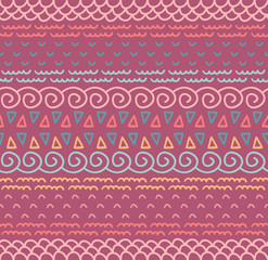 Ethnic textile decorative native ornamental striped seamless pattern in vector. Color endless background.