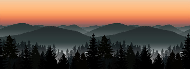 Seamless landscape. Panorama of mountains. Sunset. Mist.