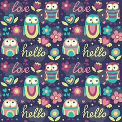 Cute seamless pattern owl flower cloud hello heart postcard fly wings