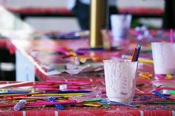 Colorful painting arts workplace  messy on table abstract background