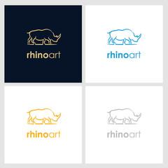 rhino line company logo. wild animal logo with minimalist concept