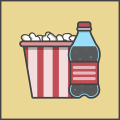 soda and popcorn, corn and movie theater, snack, movie, viewing, vector image, flat design, outline style