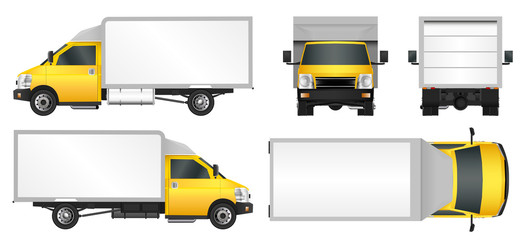 Yellow truck template. Cargo van Vector illustration EPS 10 isolated on white background. City commercial vehicle delivery.
