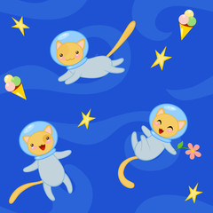 Seamless pattern with cute cartoon cats in spacesuits flying in state of weightlessness. Vector illustration