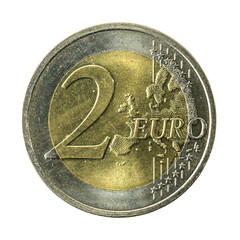2 euro coin obverse isolated on white background