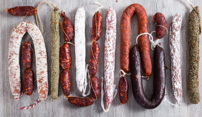 row of delicious sausages