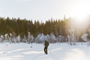 Skier tourist with a backpack on a frozen lake in the woods around the sun