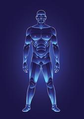 blue light human male body