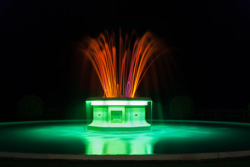 Illuminated Tom Parker fountain on Marine Parade Napier New Zealand built in 1935