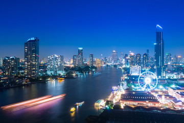 Bangkok night life at Chaophrya River.