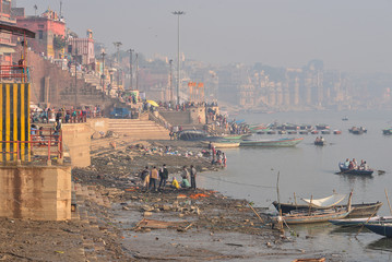 bank of the Ganges Varanasi, India. December 2015