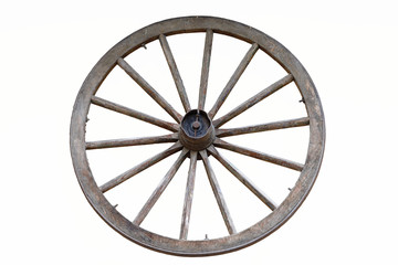 isolated wooden farm wagon wheel