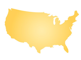 Yellow radial gradient silhouette map of United States of America, aka USA. Vector illustration.