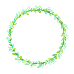 Simple round wreath with small cute brightly colored green leaves painted in watercolor on clean white background