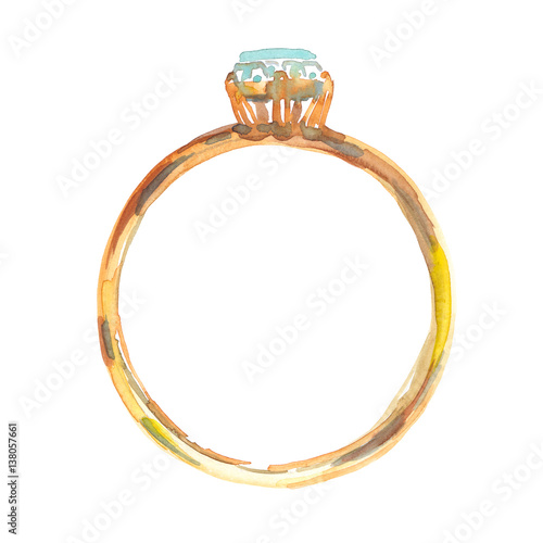 """""""Single Round Golden Ring With Small Diamond Painted In"""