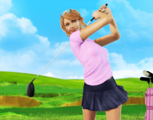 Female Golf player teeing off