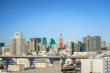 Tokyo Tower on a bright blue sky