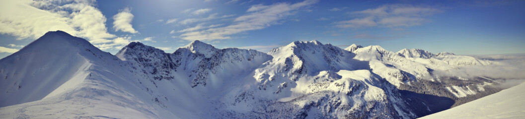 Panoramic view of winter west Tatra mountain. Rohace