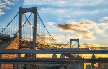 Rainbow bridge in Tokyo city at Japan