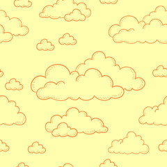 Seamless doodle pattern. Cartoon clouds contour on a yellow background. Vector.