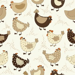 Seamless pattern with chicken cartoon
