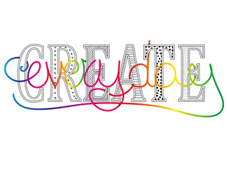 Create everyday conceptual motivational message with colorful text handwritten vector lettering