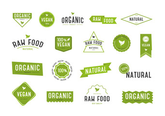 Organic labels set. Collection various logo for organic cosmetics or products.