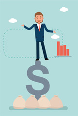 Concept flat vector business illustration. Stock broker. A businessman falls from the dollar sign.