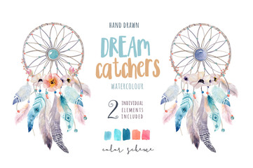 Isolated Watercolor decoration bohemian dreamcatcher. Boho feathers decoration. Native dream chic design. Mystery etnic tribal print.