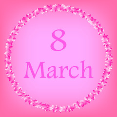 8 March Women's Day. festive poster, greeting card. petals around. pink background. vector illustration.