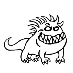 Cute monster big hell dog smiles vector illustration