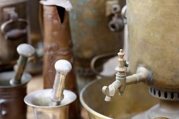 Antique copper and bronze kitchen utensils
