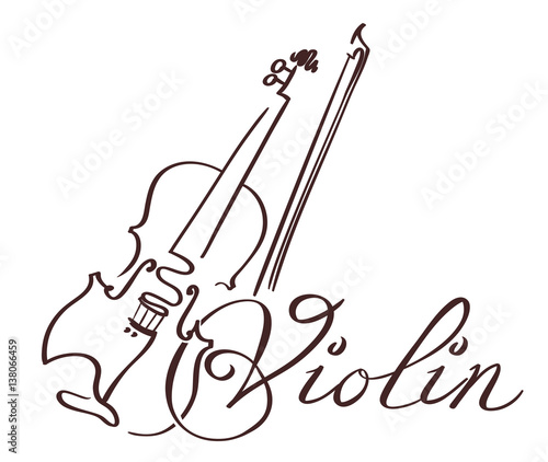 Line Drawing Violin : Quot violin line art hand drawn illustration vector stock