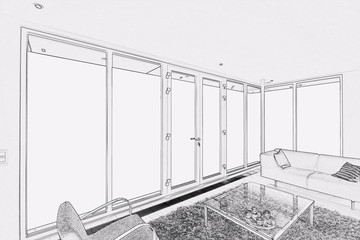 Drawing of a Modern living room with large windows