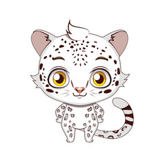 Cute stylized cartoon snow leopard illustration ( for fun educational purposes, illustrations etc. )