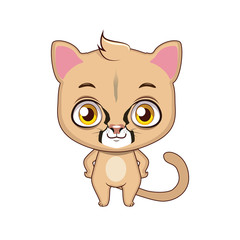 Cute stylized cartoon mountain lion illustration ( for fun educational purposes, illustrations etc. )
