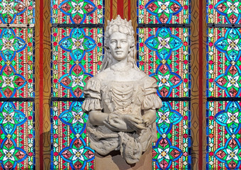 Sculpture of Empress Elisabeth of Austria and Queen of Hungary in Matthias Church of Budapest, Hungary