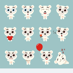 Big set cute little polar bear. Collection isolated cartoon polar bear in different poses.