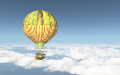 Fantasie Heißluftballon über den Wolken
