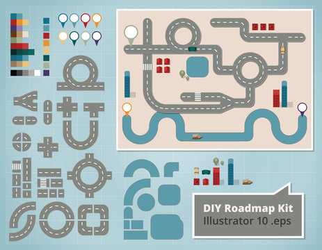 Road Map Design Elements, Set of vector Illustrations