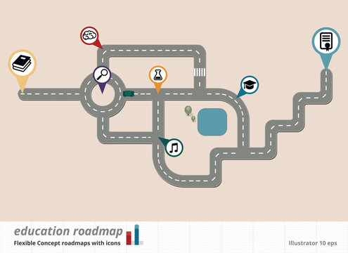 Conceptual Road Map Design, Education vector Illustration
