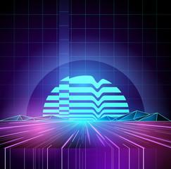 Retro 1980s Neon future background horizon. Vector illustration