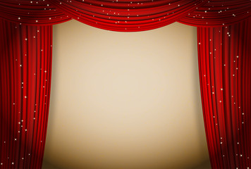 open red curtains theater background with glittering stars. Movie or other presentation design template. vector