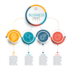 Vector illustration infographic template with 3D circles paper label.