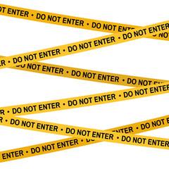 Crime scene Do not enter yellow tape, police line Do Not Cross tape. Cartoon flat-style illustration White background.
